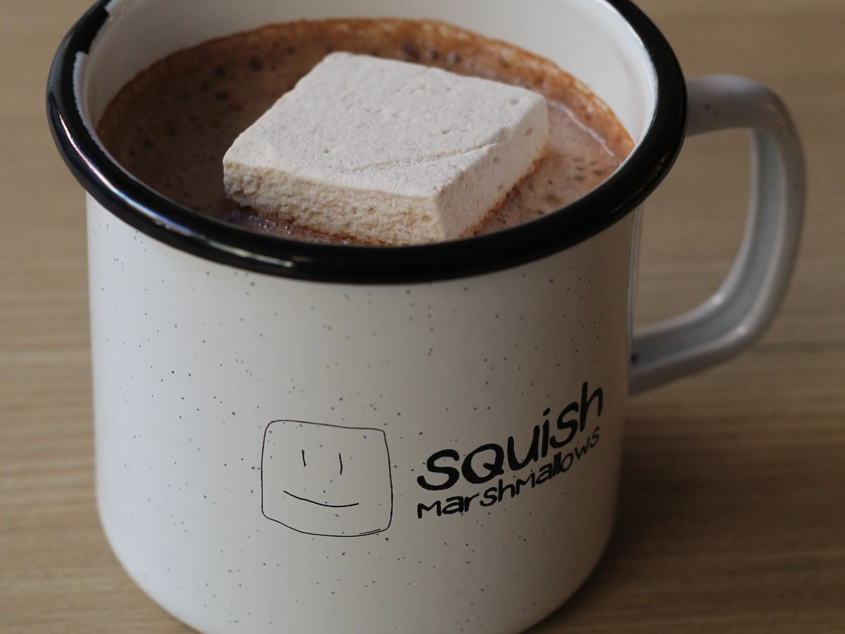 A housemade marshmallow tops the hot chocolate at Squish Marshmallows