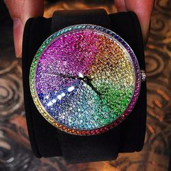 This jaw-dropping, one-of-a-kind La D piece features rainbow-hued gemstones.