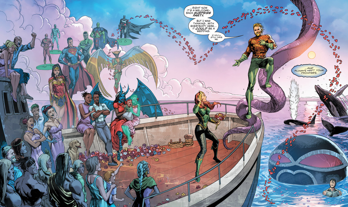 All of Aquaman and Mera's friends, as well as the Justice League, a giant tentacle monster, and several whales, attend the wedding of Mera and Aquaman on a boat at sea, in Aquaman #65, DC Comics (2020).
