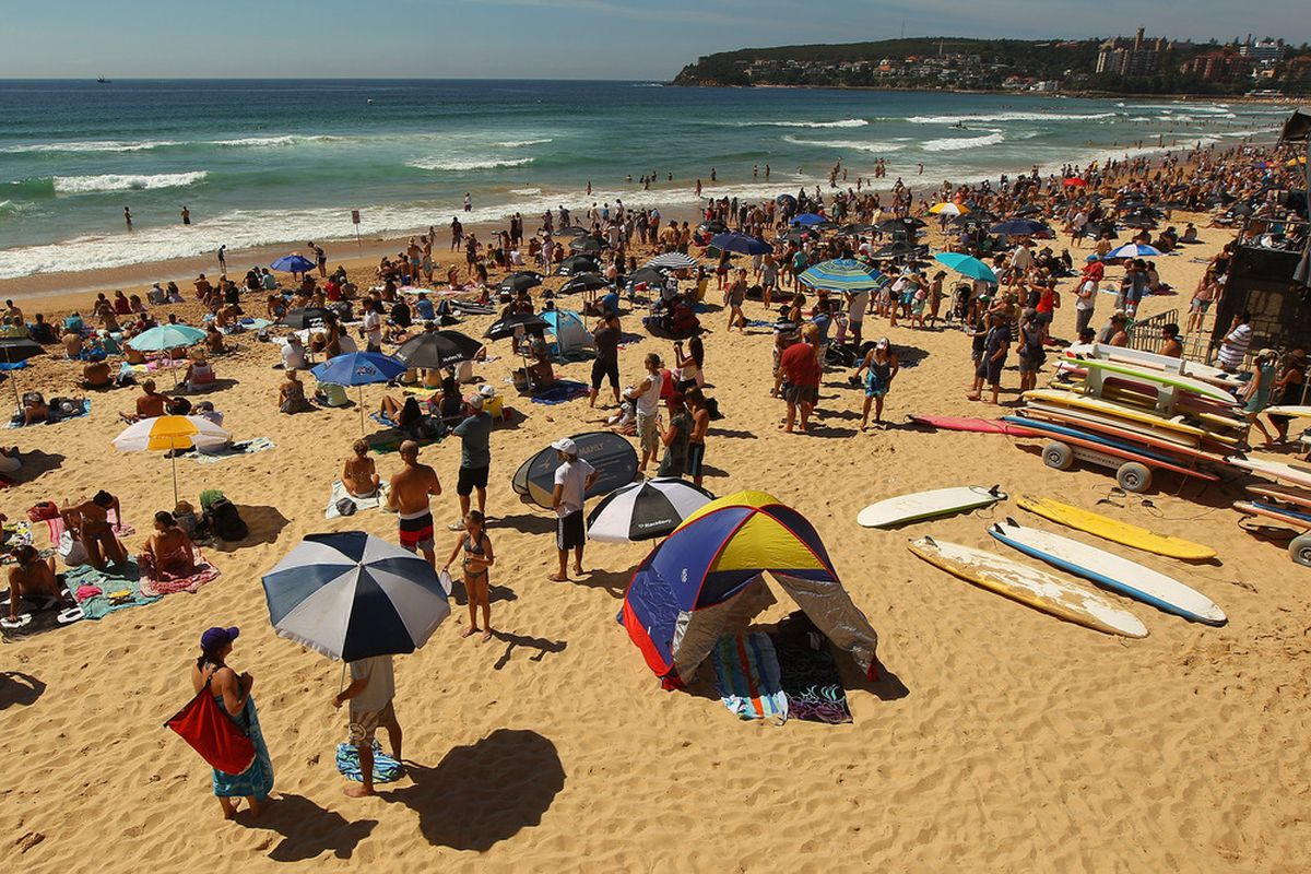 Large crowds watch the competition from Manly Beach during the 2012 Australian Surfing Open on February 19, 2012 in Manly, Australia.