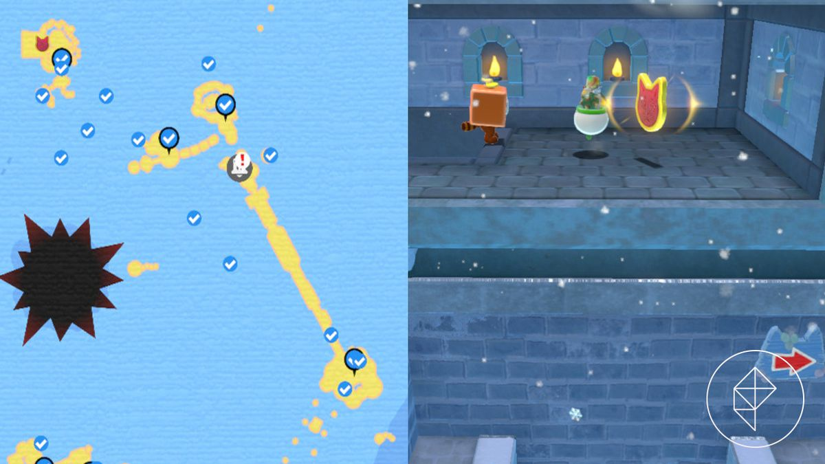 A map showing where to find a Cat Shine Shard in a hidden room along a tower