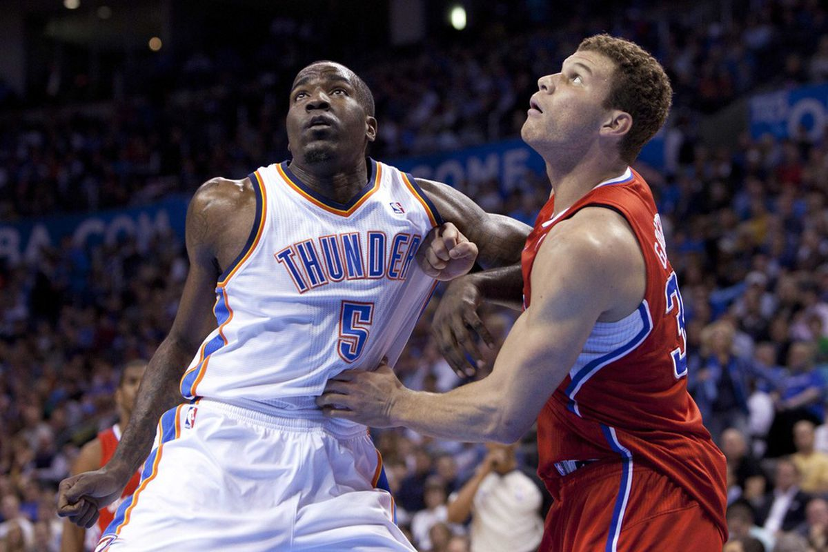 Mar, 21, 2012; Oklahoma City  OK, USA; Oklahoma City Thunder center Kendrick Perkins (5) fights for position during the first quarter against Los Angeles Clippers power forward Blake Griffin (32)