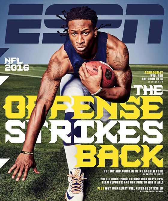 ESPN The Magazine's 2016 NFL Preview cover with Los Angeles Rams RB Todd Gurley