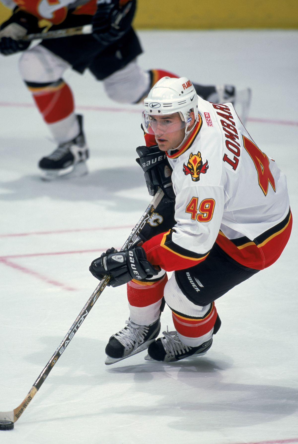 Matthew Lombardi #49 of the Calgary Flames