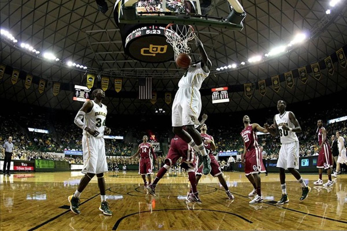 Feb 25, 2012; Waco, TX, USA; Baylor Bears forward Quincy Acy (4) dunks  during the first half against the Oklahoma Sooners at the Ferrell Center.  Baylor won 70-60. Mandatory Credit: Kevin Jairaj-US PRESSWIRE