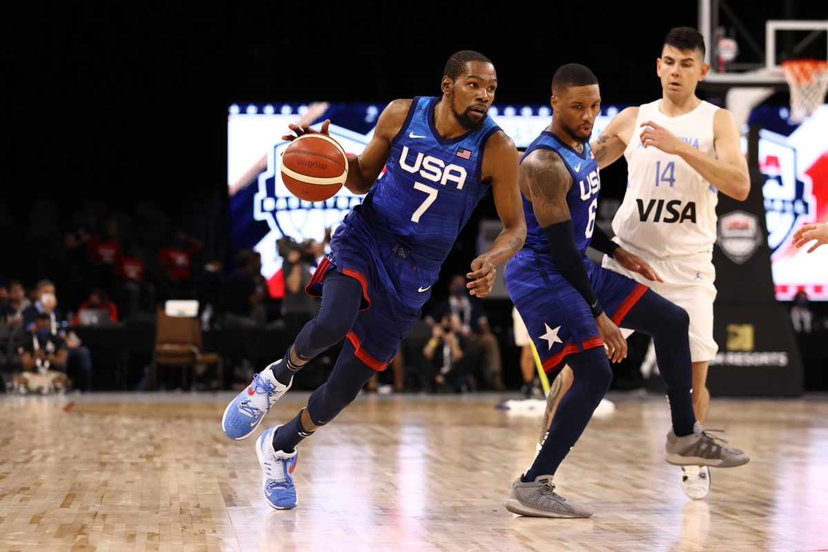 Kevin Durant #7 of the USA Men's National Team dribbles the ball during the game against the Argentina Men's National Team on July 13, 2021 at Michelob ULTRA Arena in Las Vegas, Nevada.