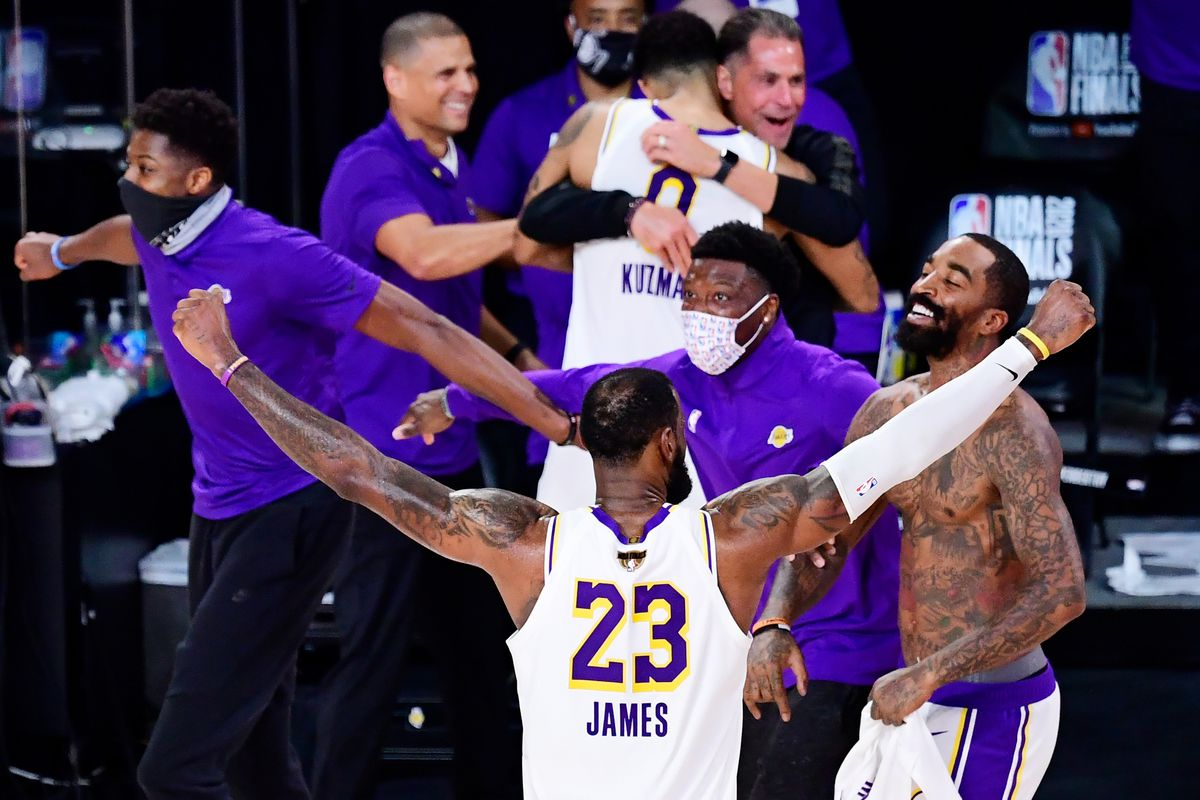 LeBron James #23 of the Los Angeles Lakers reacts after winning the 2020 NBA Championship over the Miami Heat in Game Six of the 2020 NBA Finals at AdventHealth Arena at the ESPN Wide World Of Sports Complex on October 11, 2020 in Lake Buena Vista, Florida.