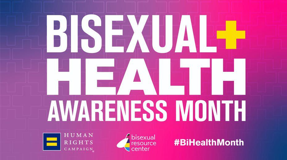 A graphic from HRC notes this is Bi Health Awareness Month