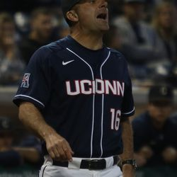 The Houston Cougars take on the UConn Huskies baseball team at Dunkin Donuts Park in Hartford, CT on May 11, 2018.