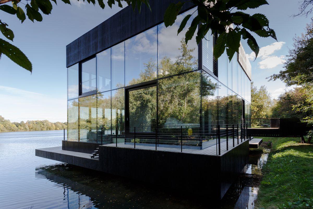 Glass house on dock