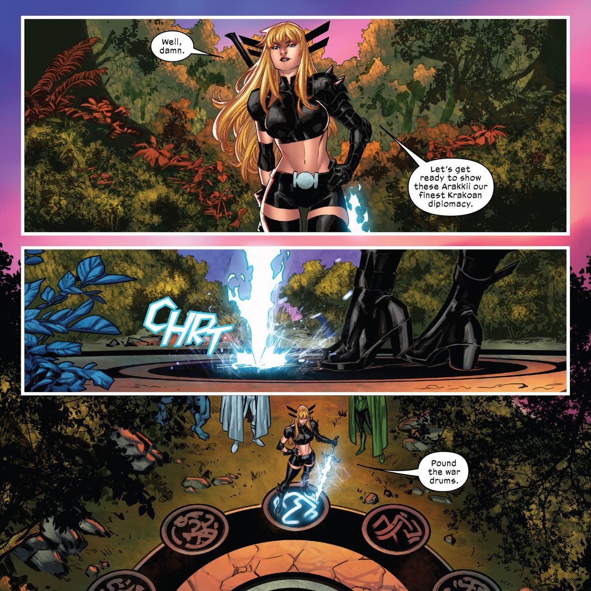 """""""Let's get rady to show these Arakkii our finest Krakoan diplomacy,"""" Magik says as she rests the tip of her soul sword on the sword-bearers' pedastal in X-Factor #4, Marvel Comics (2020). """"Pound the war drums."""""""