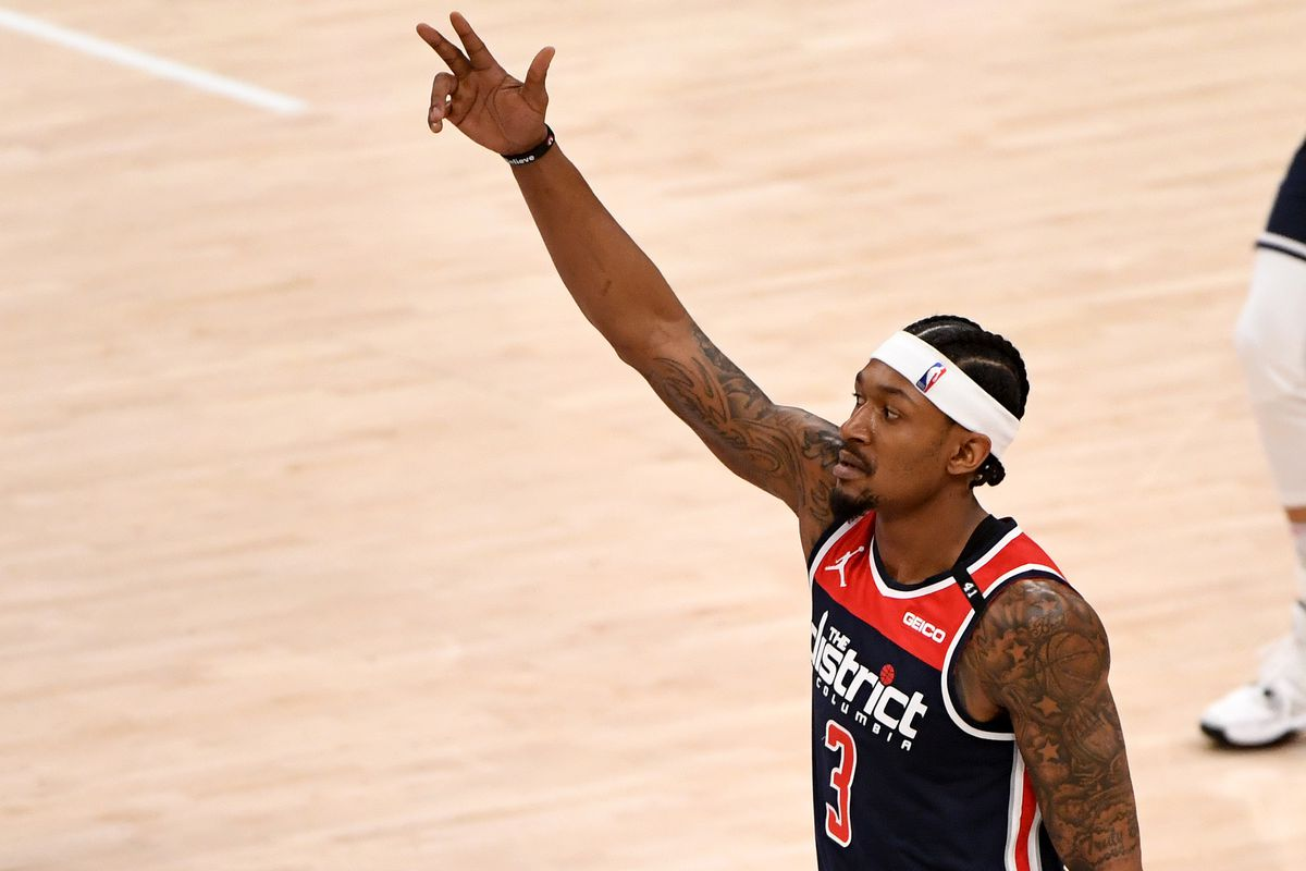 Bradley Beal of the Washington Wizards celebrates after a play against the Indiana Pacers during the first half at Capital One Arena on May 03, 2021 in Washington, DC.