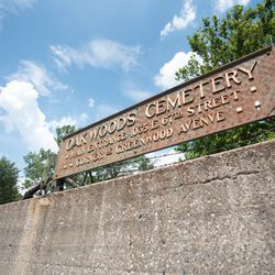 A sign for the Oakwoods Cemetery in the South Shore neighborhood.  | Colin Boyle/Sun-Times