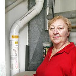 Mary Pat Laslie paid about $2,000 to install a piping system that channels radon out her roof.