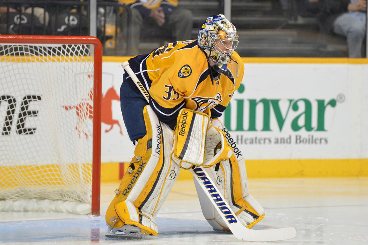Mar 20, 2012; Nashville, TN, USA; Nashville Predators goalie Pekka Rinne (35) stands in the goal against the Edmonton Oilers during the first period at Bridgestone Arena. The Oilers beat the Predators 6-3. Mandatory Credit: Don McPeak-US PRESSWIRE