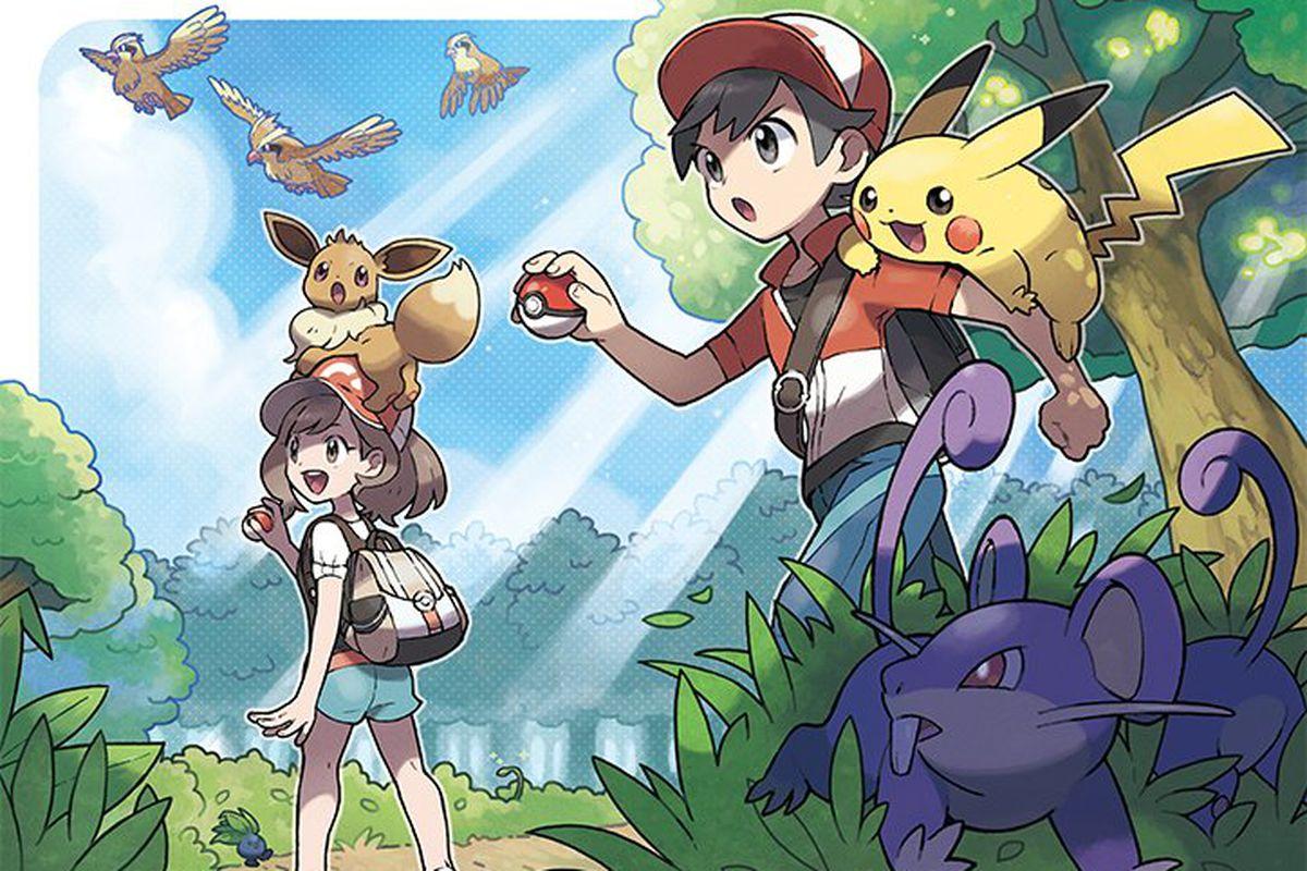 artwork of trainers and Pokémon for Pokémon: Let's Go!