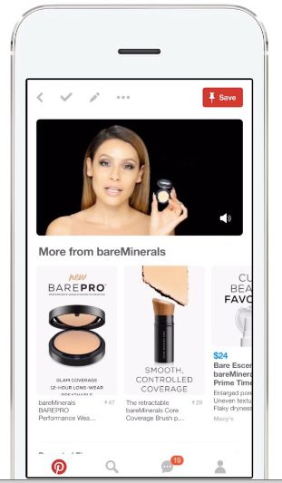 A smart phone with the app for Pinterest open, showing a video ad