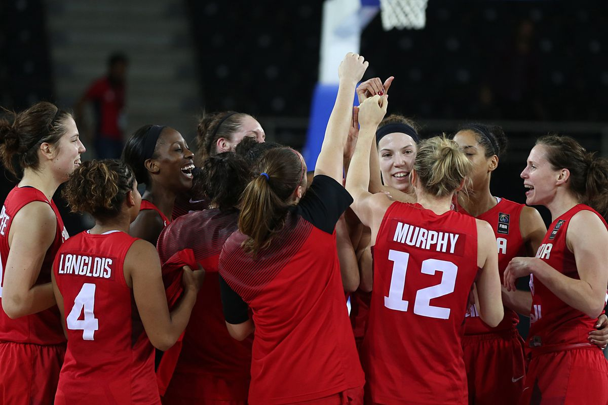 Team Canada celebrated advancing to the quarterfinals of the 2014 FIBA Women's World Championships.