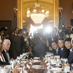 House Speaker Paul Ryan of Wis., left, accompanied by House Minority Leader Nancy Pelosi of Calif., second from left, and House Minority Whip Steny Hoyer, D-Md., third from left, meets with South Korean President Moon Jae-in, right, on Capitol Hill in Washington, Thursday, June 29, 2017.