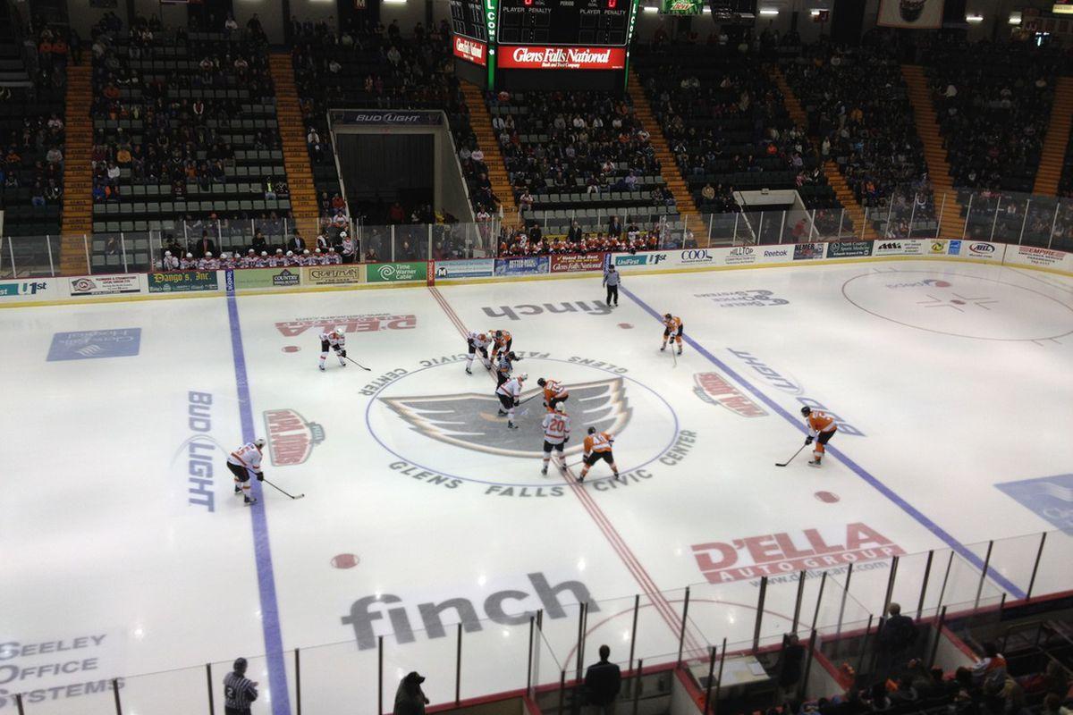 Faceoff between the Phantoms and Syracuse Crunch at the Glens Falls Civic Center last October. (Travis Hughes/Broad Street Hockey)