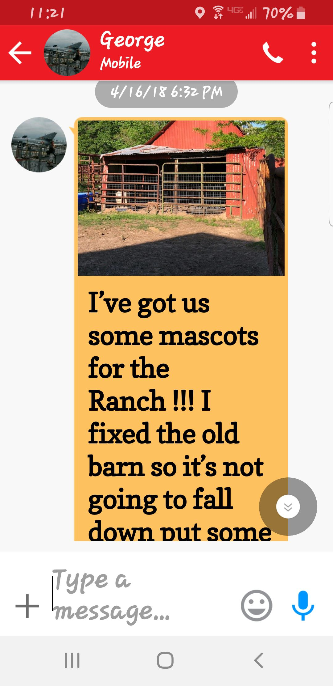 Darrin Gowin, who was taking care of the Chronis property, texted George Chronis that he stocked a barn with wild pigs.