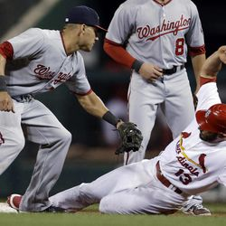 St. Louis Cardinals' Matt Carpenter, right, advances to second on a wild pitch as Washington Nationals shortstop Ian Desmond attempts the tag during the second inning of a baseball game Friday, Sept. 28, 2012, in St. Louis.
