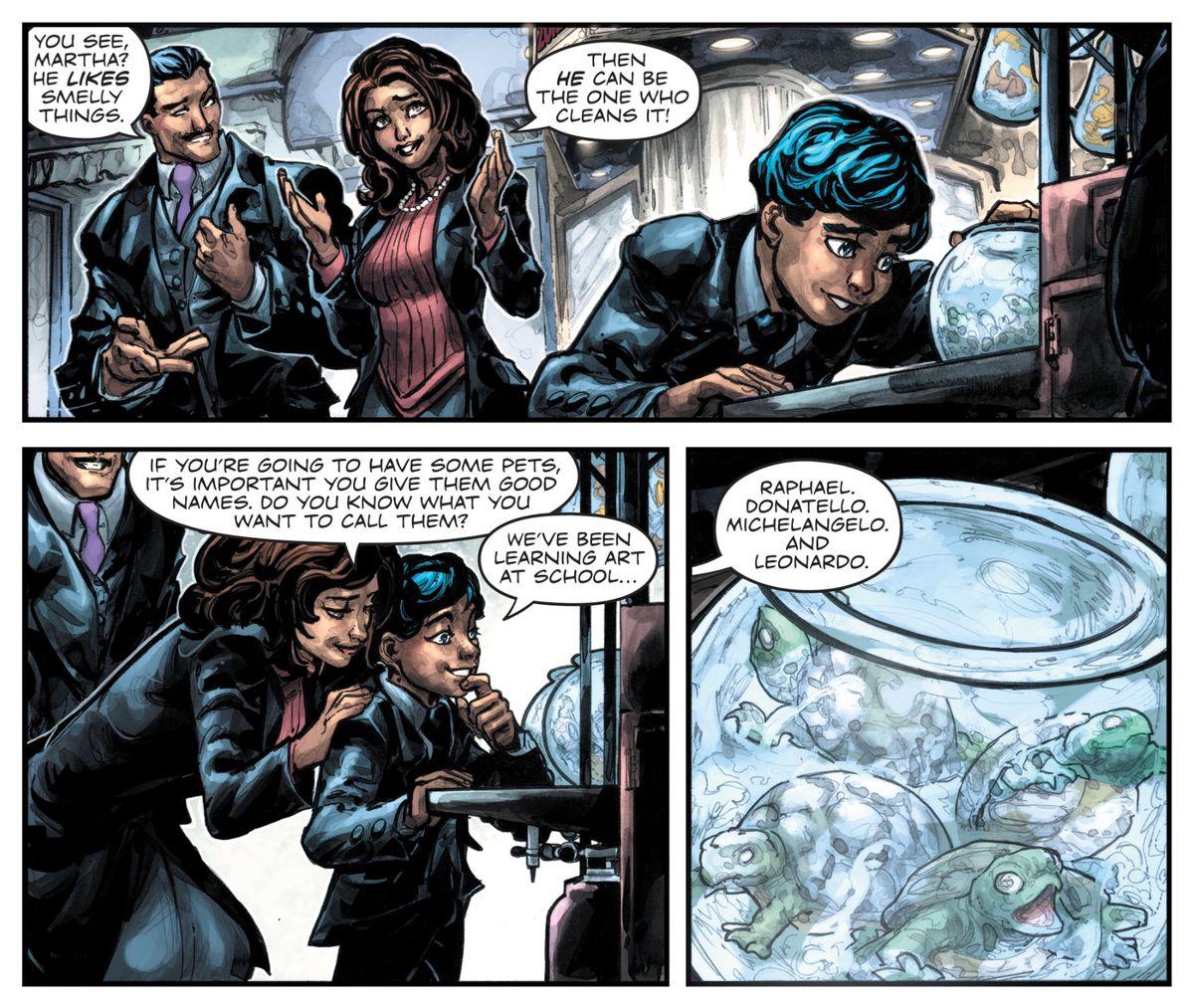 Thomas, Martha, and Bruce Wayne in Batman/Teenage Mutant Ninja Turtles III #3, DC Comics (2019).