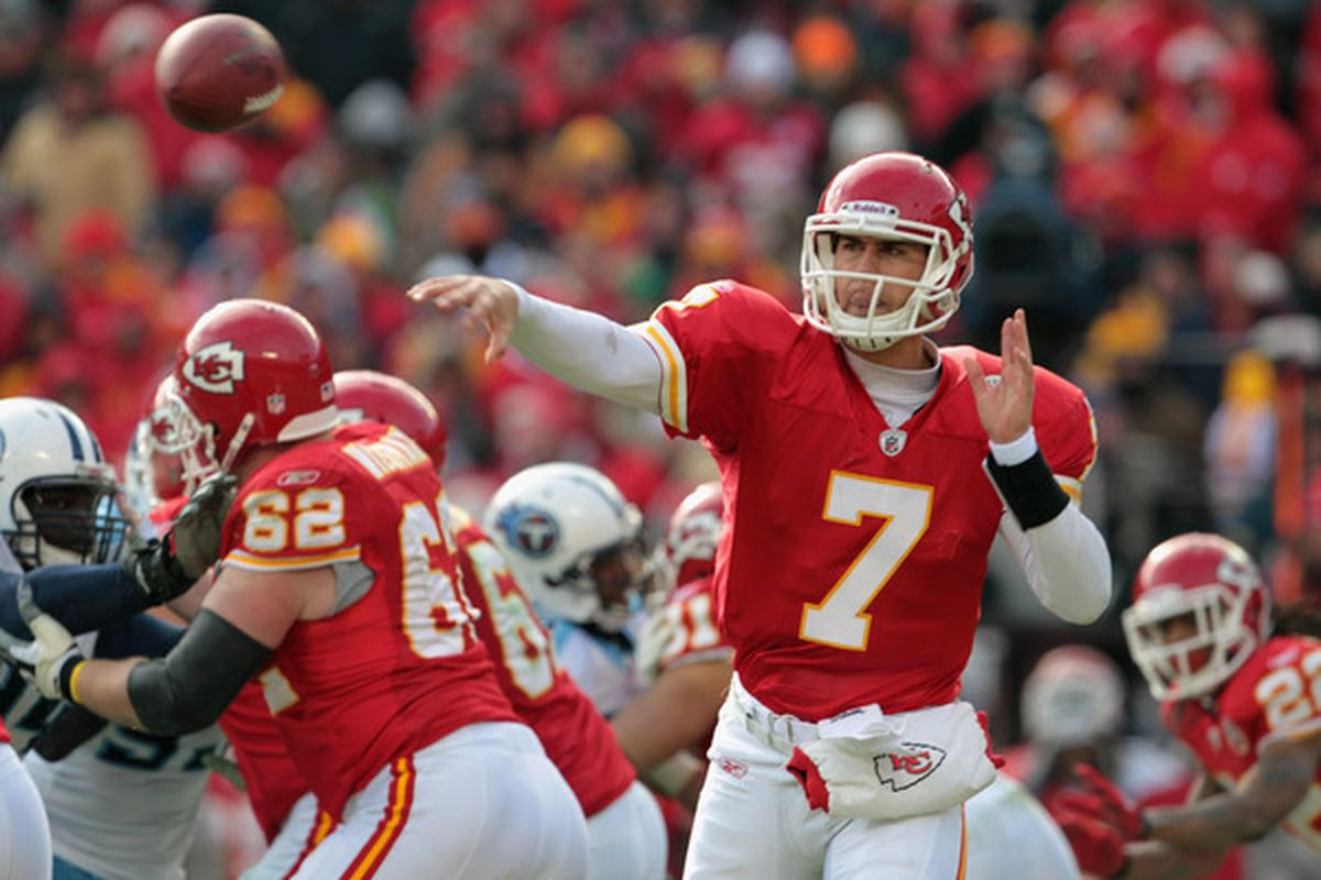KANSAS CITY MO - DECEMBER 26:  Quarterback Matt Cassel #7 of the Kansas City Chiefs passes during the game against the Tennessee Titans on December 26 2010 at Arrowhead Stadium in Kansas City Missouri.  (Photo by Jamie Squire/Getty Images)