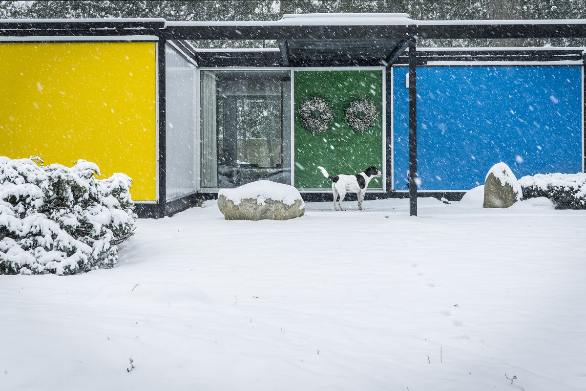 The house is made with bright white, yellow, green, and blue panels. Their brown-and-white dog stands at the door. Snow is falling and on the ground.