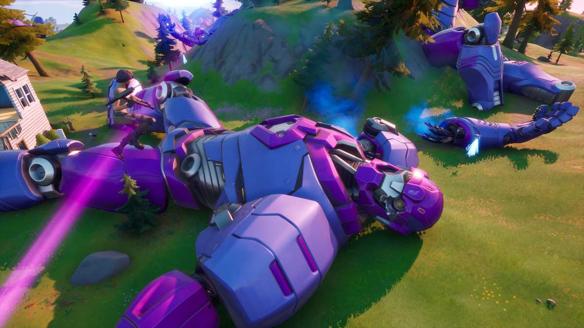 A Fortnite player jumping off of a Sentinel's hand