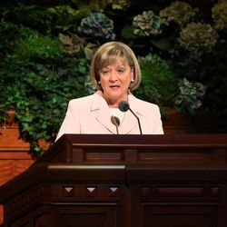 Young Women General President Bonnie L. Oscarson speaks morning session of the 183rd Semiannual General Conference of the Church of Jesus Christ of Latter-day Saints Sunday, Oct. 6, 2013, in Salt Lake City.