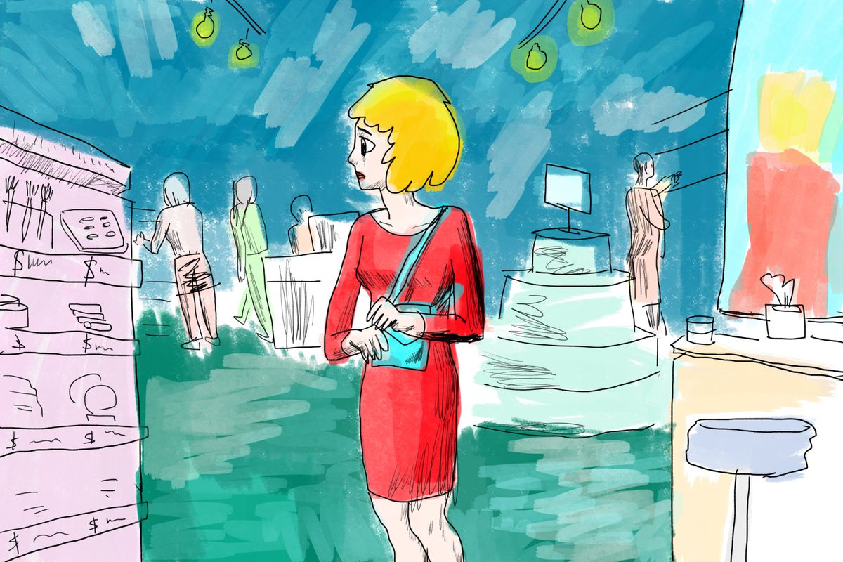 Illustration of a woman looking worriedly at items in a makeup store.