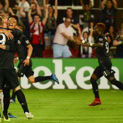 Celebrating Paul Arriola's goal in the 69th minute