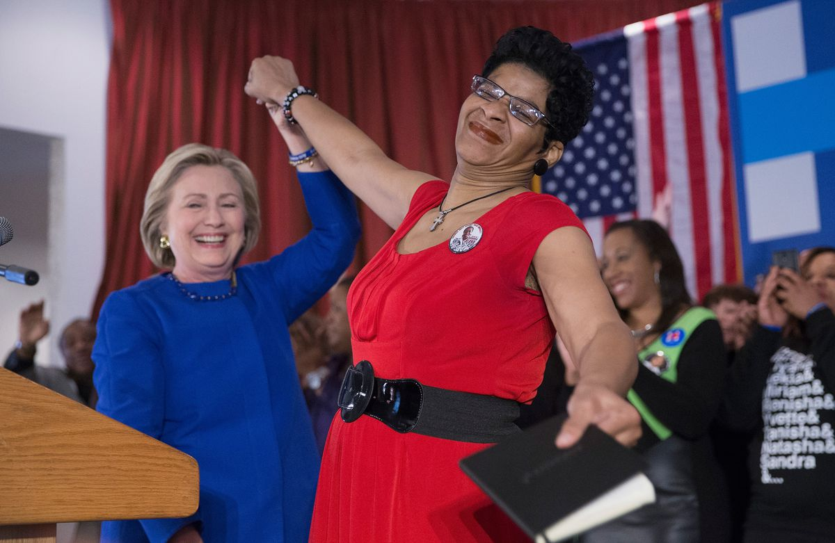 Hillary Clinton and Geneva Reed-Veal, the mother of Sandra Bland, at a get out the vote rally in Chicago.
