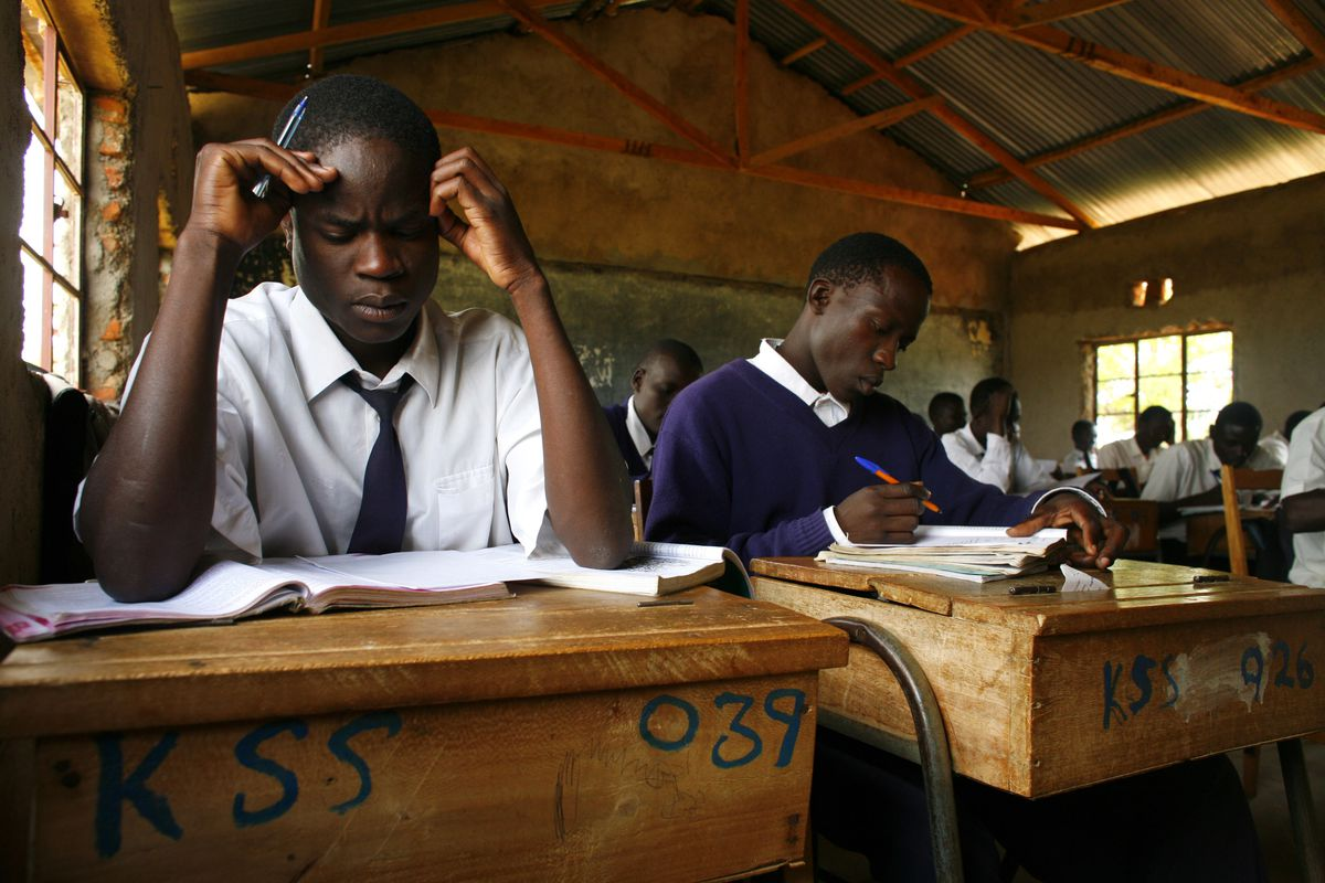 Students studying at a school in Kenya.