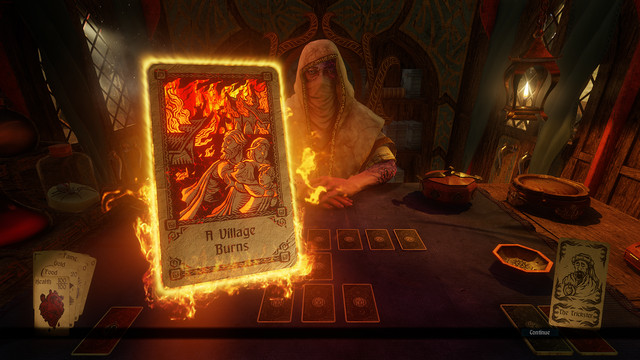 Screenshot showing Hand of Fate 2 has dealt the player the Brimstone Card
