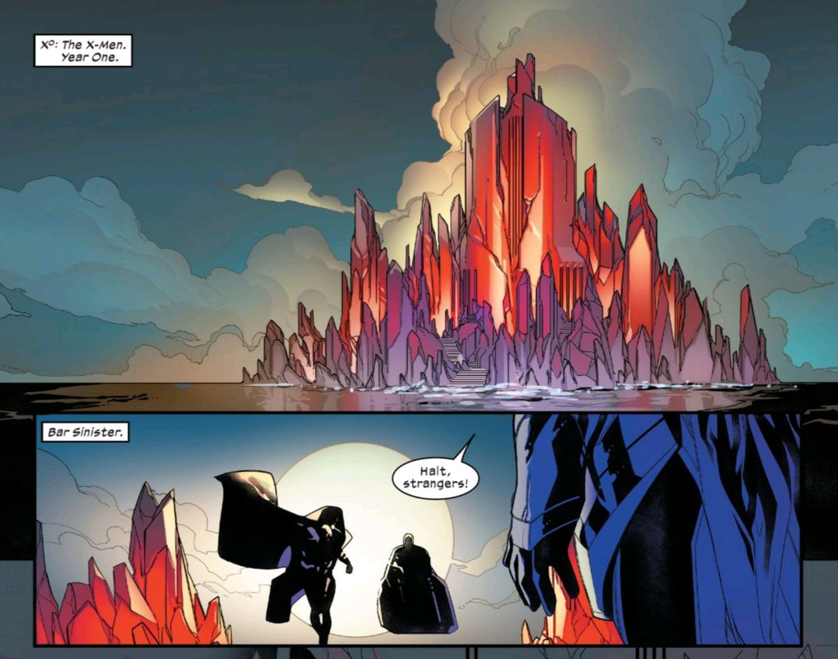 Professor X and Magneto approach Bar Sinister and are halted by a guard, in Powers of X #4, Marvel Comics (2019).