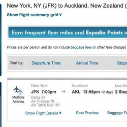 A one-way trip to New Zealand, $3,599 out of JFK.