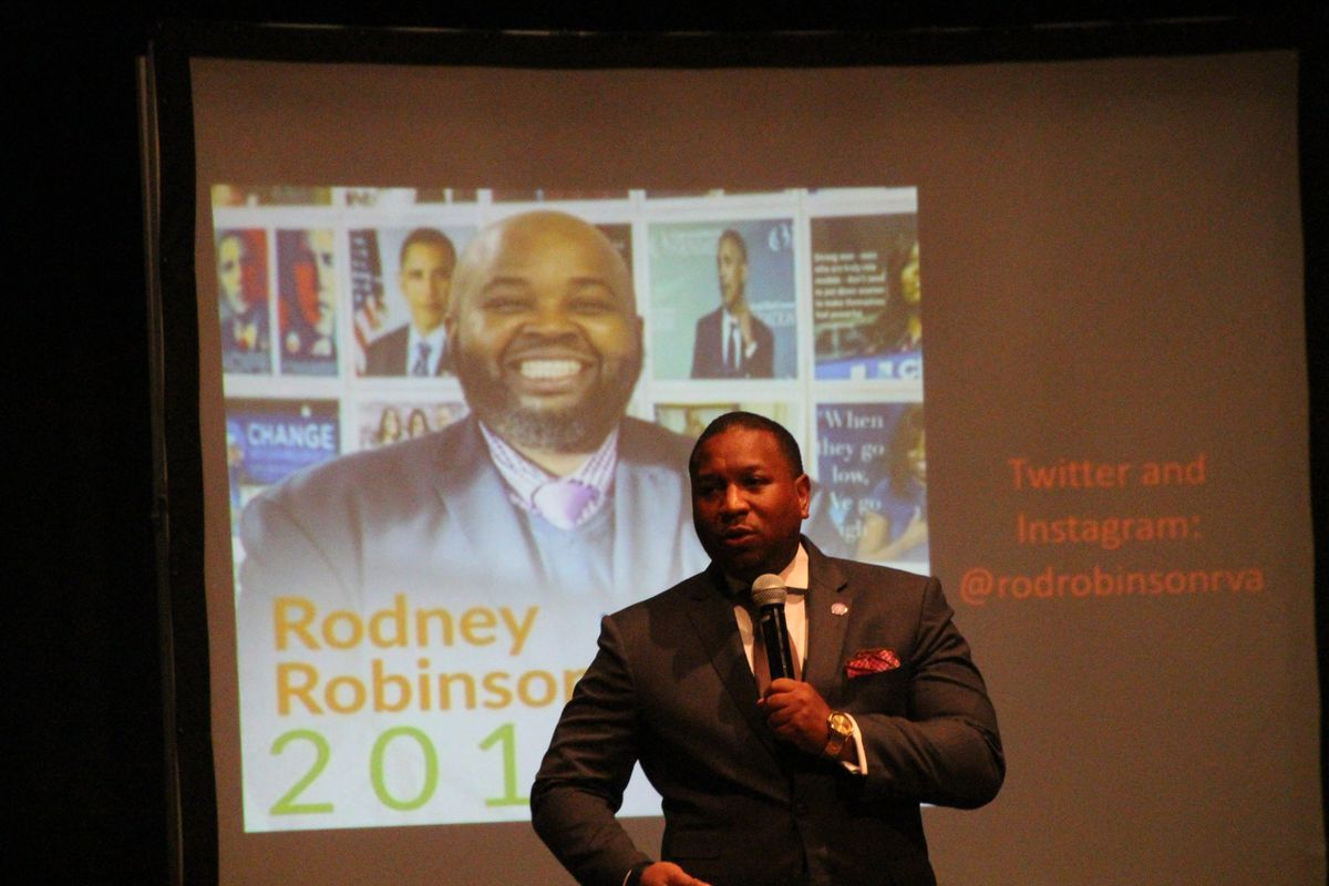 Shelby County School Superintendent Joris Ray introduces National Teacher of the Year Rodney Robinson at a district teacher training event at Southwind High School on July 16, 2019.