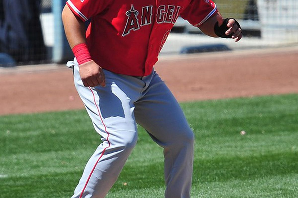 April 4, 2012; Los Angeles, CA, USA; Los Angeles Angels first baseman Kendrys Morales (8) leads off from third base in the fifth inning against the Los Angeles Dodgers at Dodger Stadium. Mandatory Credit: Gary A. Vasquez-US PRESSWIRE