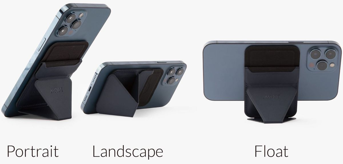 An image of a phone attached to the case in landscape, portrait, and float mode. Float mode involves the case sitting vertically with the phone being held horizontally.