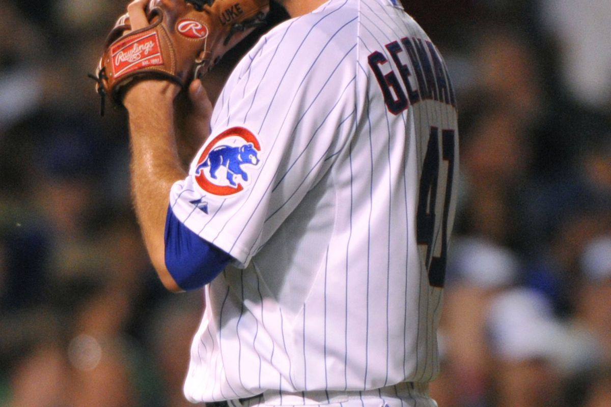 Chicago, IL, USA;  Chicago Cubs starting pitcher Justin Germano reacts to giving up a home run to Milwaukee Brewers third baseman Aramis Ramirez at Wrigley Field. Credit: Rob Grabowski-US PRESSWIRE