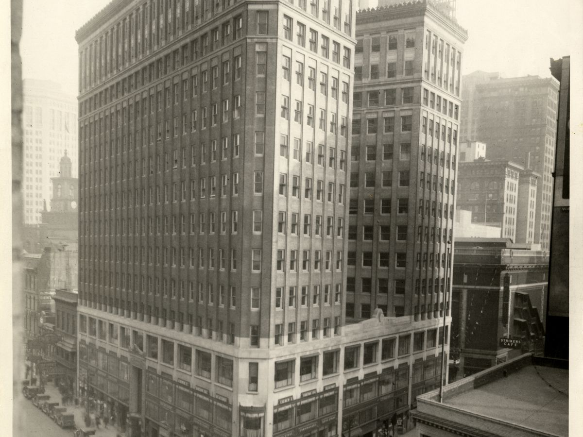 A vintage photograph of the Lafayette Building in Detroit.