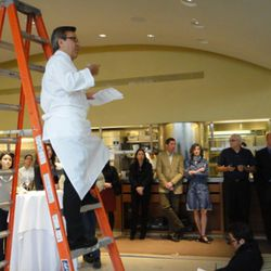 Boulud with his classic ladder move.