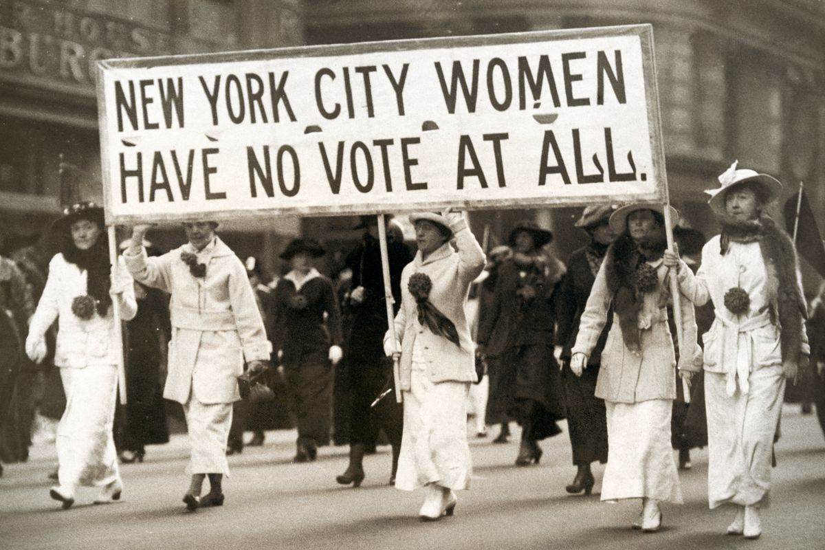 Woman's suffrage march in New York City circa 1900.