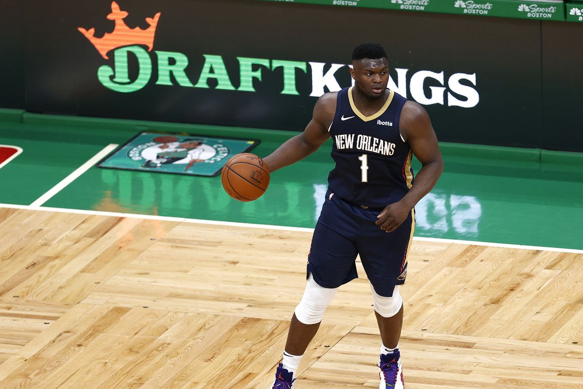 Zion Williamson of the New Orleans Pelicans dribbles against the Boston Celtics during the second quarter at TD Garden on March 29, 2021 in Boston, Massachusetts.