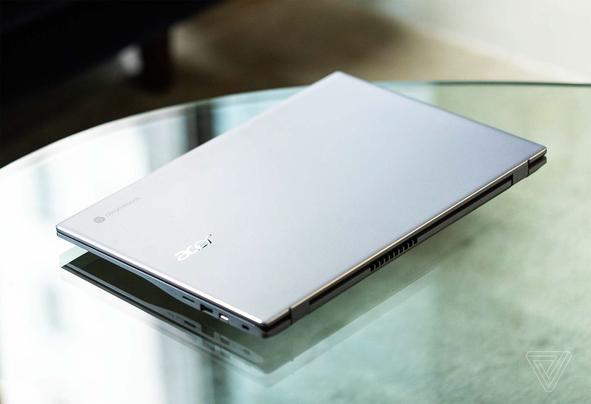 The lid of the Acer Chromebook 515 seen from above on a clear table.