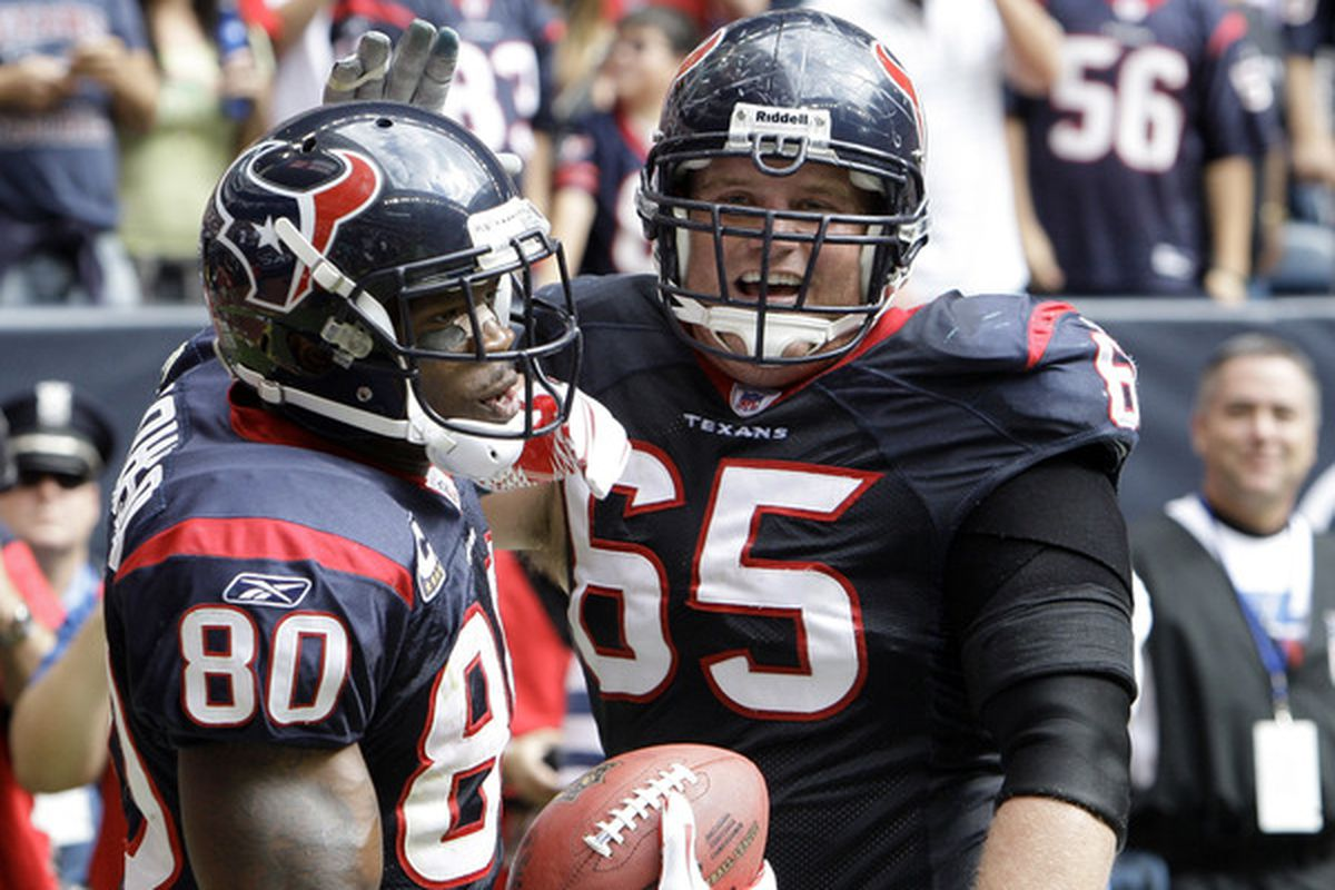HOUSTON - NOVEMBER 28:  Wide receiver Andre Johnson #80 of the Houston Texans is congratulated by Mike Brisiel after scoring in the first quarter at Reliant Stadium on November 28 2010 in Houston Texas.  (Photo by Bob Levey/Getty Images)