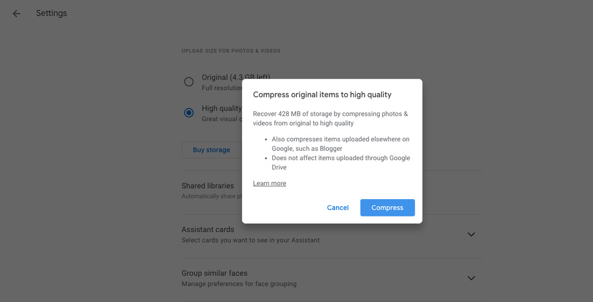 Google Photos compress original items