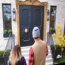 The doors shortly after they were installed during the show.   HGTV